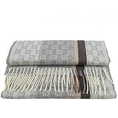 GUCCI 經典LOGO喀什米爾羊毛長型圍巾(灰咖)