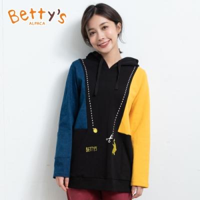 betty's貝蒂思 連帽拼接繡線T-shirt(藍黑黃)