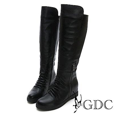 GDC-真皮歐美秋冬拉鍊設計感素面長筒靴-黑色