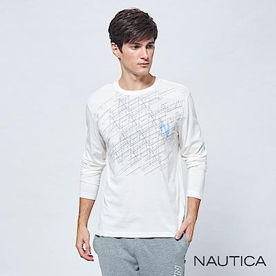 Nautica立體3D圖形長袖TEE-白