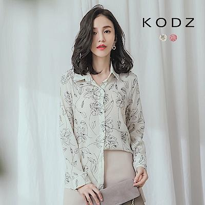 東京著衣-KODZ 清新率性花紋印花襯衫上衣(共兩色)