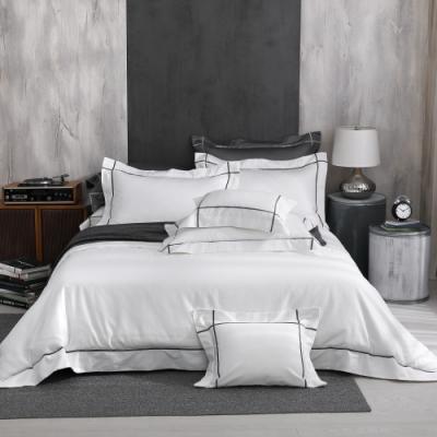 OLIVIA  Hamilton 白 特大雙人床包新式兩用被套四件組 500織高織紗匹馬棉