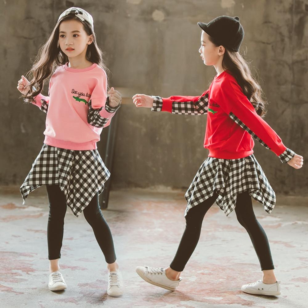 小衣衫童裝   中大女童長袖T恤不規則格子裙褲套裝1070839