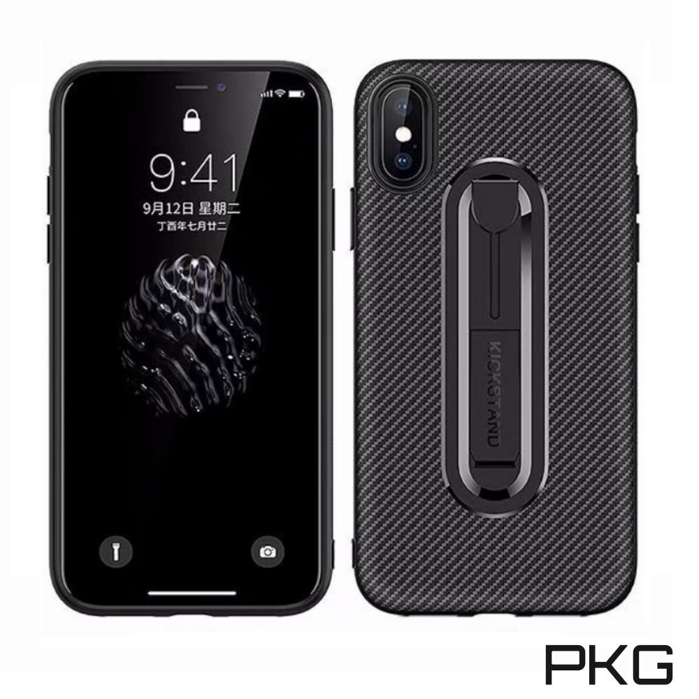 PKG Apple iPhone X/XS手機殼 抗指紋時尚碳纖紋支架 @ Y!購物
