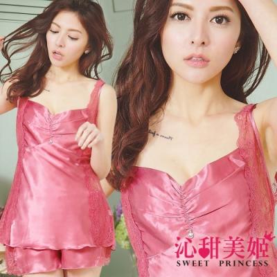 緞面睡衣褲組 奢華優雅皺褶+水鑽 蕾絲透膚 沁甜美姬(玫)