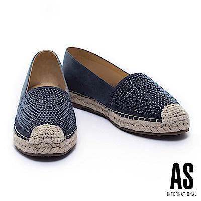 休閒鞋 AS 晶鑽羊皮草編厚底休閒鞋-藍