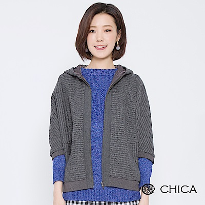 CHICA 摩登俏皮七分袖羊毛連帽外套(3色)