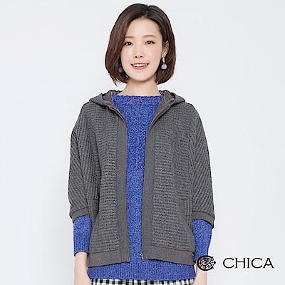 CHICA 摩登俏皮七分袖羊毛連帽外套(<b>3</b>色)