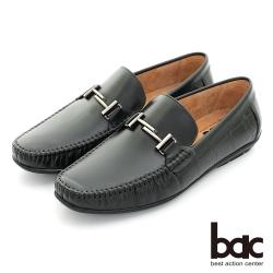 【bac】時尚樂活 金屬裝飾舒適牛皮帆船鞋-黑