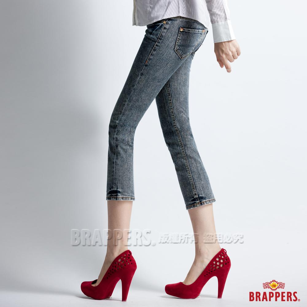 BRAPPERS 女款 Lady Vintage系列-女用彈性七分雪花反摺褲-深藍雪花