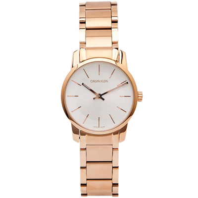 CK City 都會雅痞玫瑰金極簡女性手錶(K2G23646)-銀面X玫瑰金/31mm