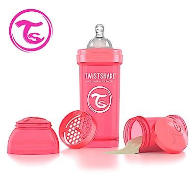 Twistshake 瑞典時尚 彩虹奶瓶/防脹氣奶瓶260ml/奶嘴口徑0.5mm-蜜桃紅