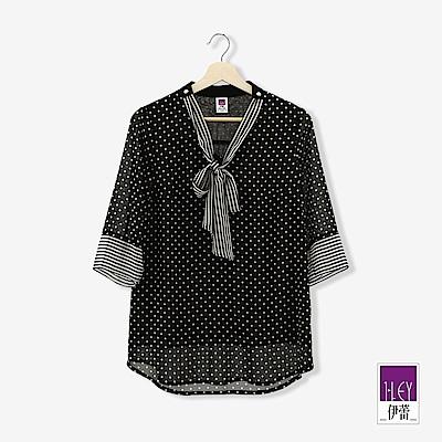 ILEY伊蕾 條紋領帶圓點雪紡長版上衣(黑)