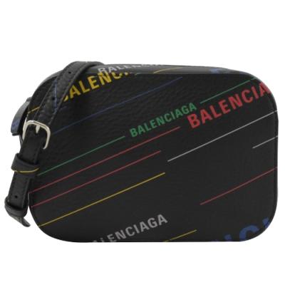 BALENCIAGA LOGO斜線塗鴉牛皮斜背相機包(黑)
