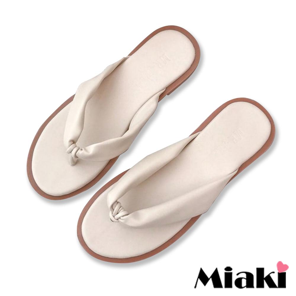 Miaki-拖鞋夏季超柔軟平底涼拖鞋-米