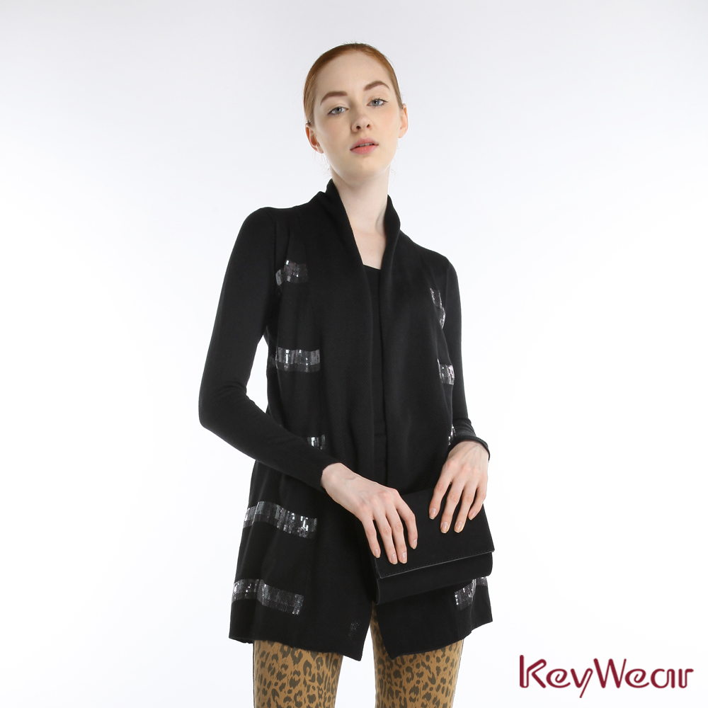 KeyWear奇威名品    黑色針織亮片假兩件上衣-黑色