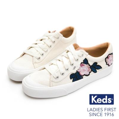 Keds CREW KICK 復古立體花卉綁帶帆布鞋-米