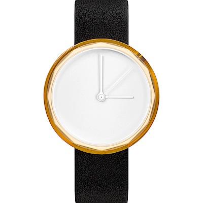 AÃRK 香檳金極簡主義真皮革腕錶 -質感白/38mm
