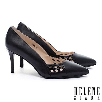 高跟鞋 HELENE SPARK 簡約之美雅緻沖孔羊皮尖頭高跟鞋-黑