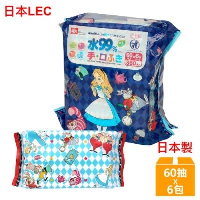 日本LEC 迪士尼愛麗絲-口手專用純水99%濕紙巾-60抽x6包/組