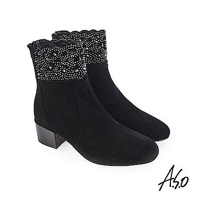 A.S.O 流金歲月 水鑽點綴閃耀風格短靴 黑