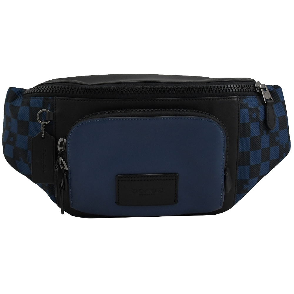 COACH 徽章LOGO撞色格子造型帆布拼接拉鍊腰包/胸口包(藍黑)