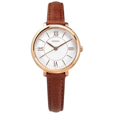 FOSSIL 典雅簡約 礦石強化玻璃 日本機芯 真皮手錶-白x玫瑰金框x咖啡/27mm