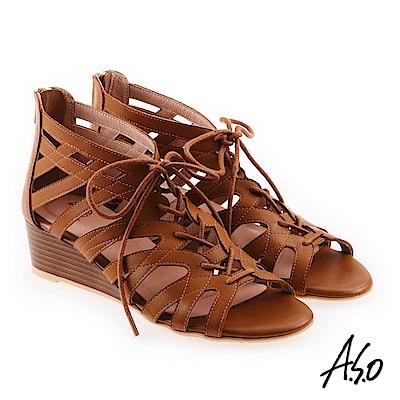 A.S.O 希臘渡假 全真皮羅馬楔型涼拖鞋黃褐