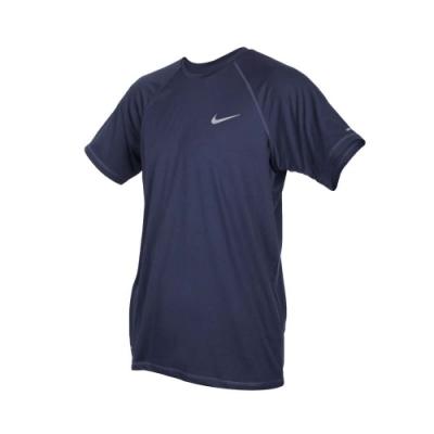 NIKE SWIM SWIM 男短袖防曬T恤-游泳 慢跑 路跑 海邊 海灘 防紫外線 丈青銀