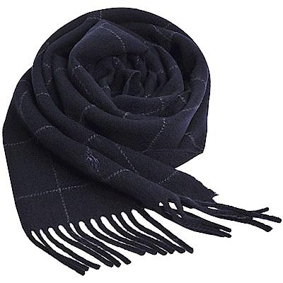 RALPH LAUREN POLO 義大利製小馬刺繡雙面配色格紋羊毛圍巾(黑色底)