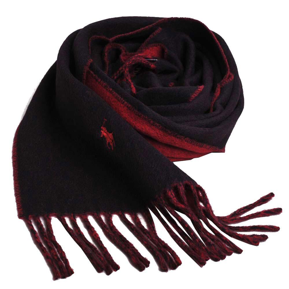 RALPH LAUREN POLO 小馬刺繡LOGO雙面配色義大利製羊毛圍巾(黑/紅)GUCCI