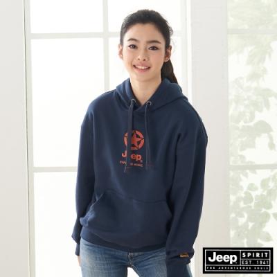 Jeep 女裝 休閒紋樣LOGO長袖連帽T恤-深藍色