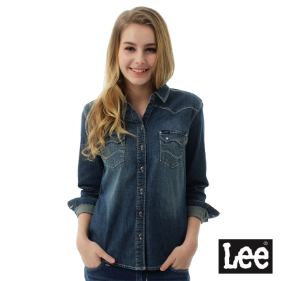 Lee 牛仔101+ 百搭易配襯衫-女-藍色