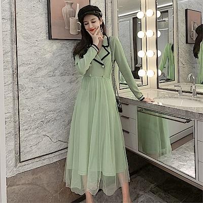 DABI 韓系優雅雙排釦V領網紗拼接長版針織長袖洋裝