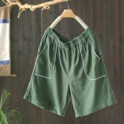 輕薄棉麻大口袋短褲高腰顯瘦褲子-設計所在