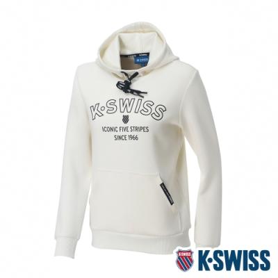 K-SWISS Embossed KS Logo Hoodie連帽上衣-女-米白