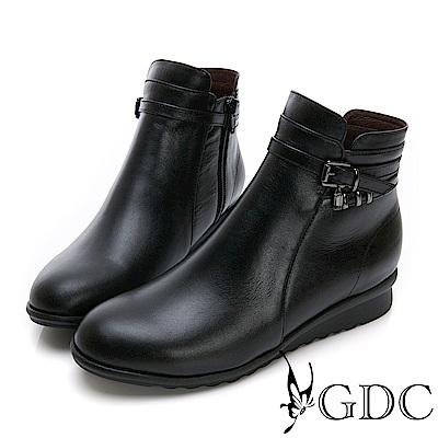 GDC-真皮質感基本款交叉素雅小短靴-黑色