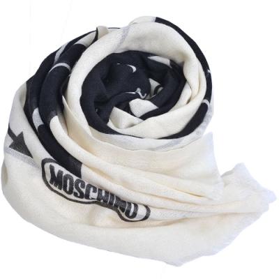 MOSCHINO 義大利製字母LOGO圖騰絲混羊毛披肩/圍巾(米白/黑)