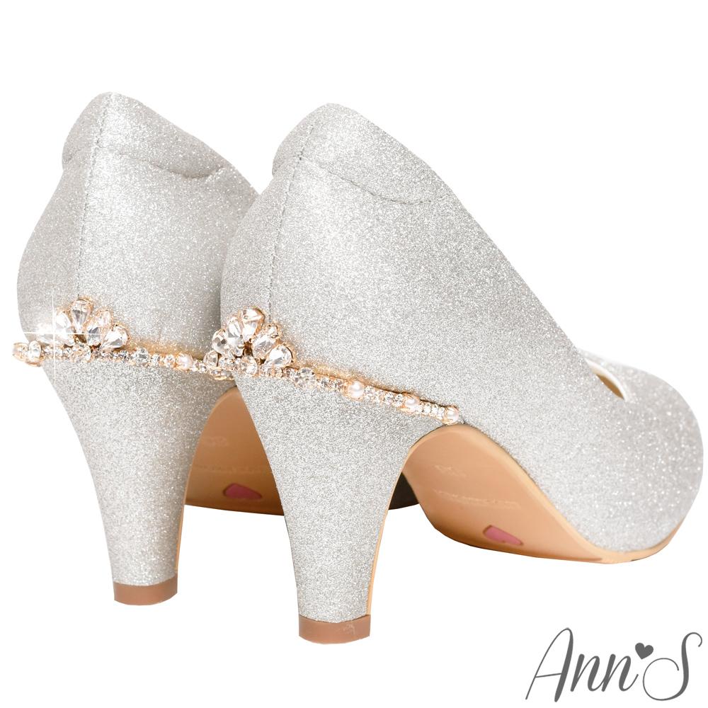 Ann'S不想當伴娘-後跟水鑽皇冠圓頭低跟婚鞋-銀