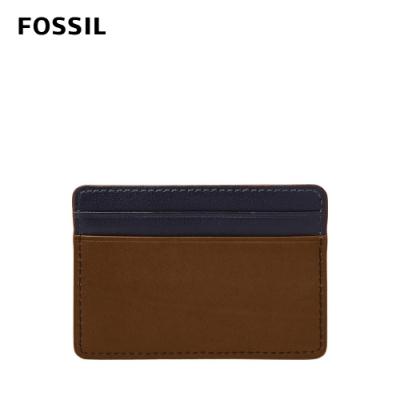 FOSSIL Ward 真皮卡夾-深藍x褐色 ML4236400
