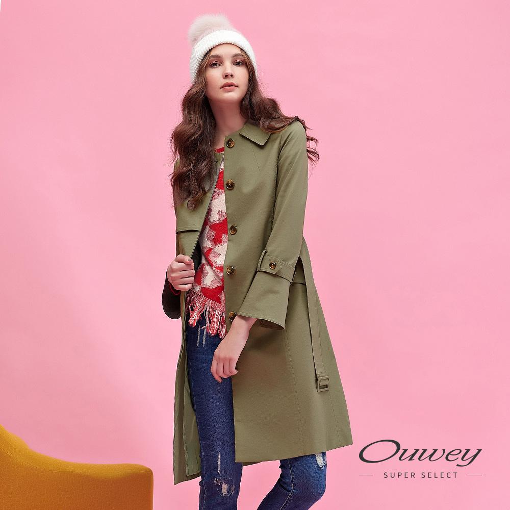 OUWEY歐薇 都會率性百搭長版風衣外套(綠) @ Y!購物