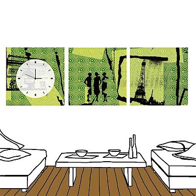 24mama掛畫 三聯 時尚無框畫 時鐘掛畫-現代風格 30x30cm