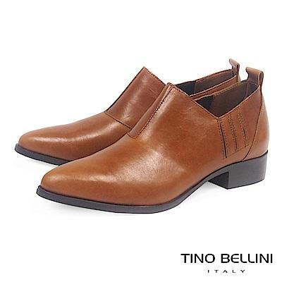 Tino Bellini 義大利進口摩登雅痞女郎低跟皮鞋 _ 棕