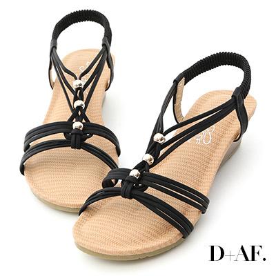 D+AF 溫柔夏風.交叉編織帶串珠楔型涼鞋*黑