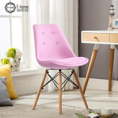 E-home EMSFC北歐布面拉扣軟墊櫸木腳餐椅-三色可選