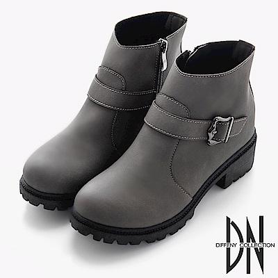 DN 街頭風格 個性腰帶飾釦低筒短靴-灰