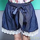 Mini Jule 短褲 蝴蝶結綁帶下擺蕾絲牛仔鬆緊寬短褲(藍)
