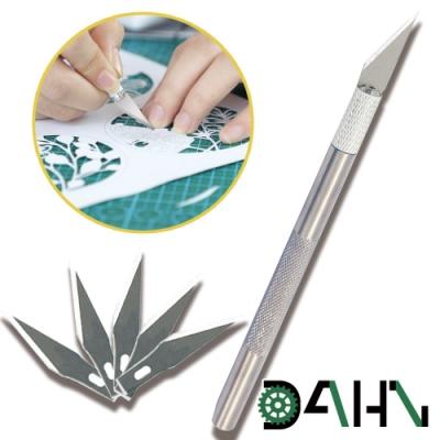 DAHN達恩 手工模型印章等距切割線雕刻筆刀 6入刀片 銀