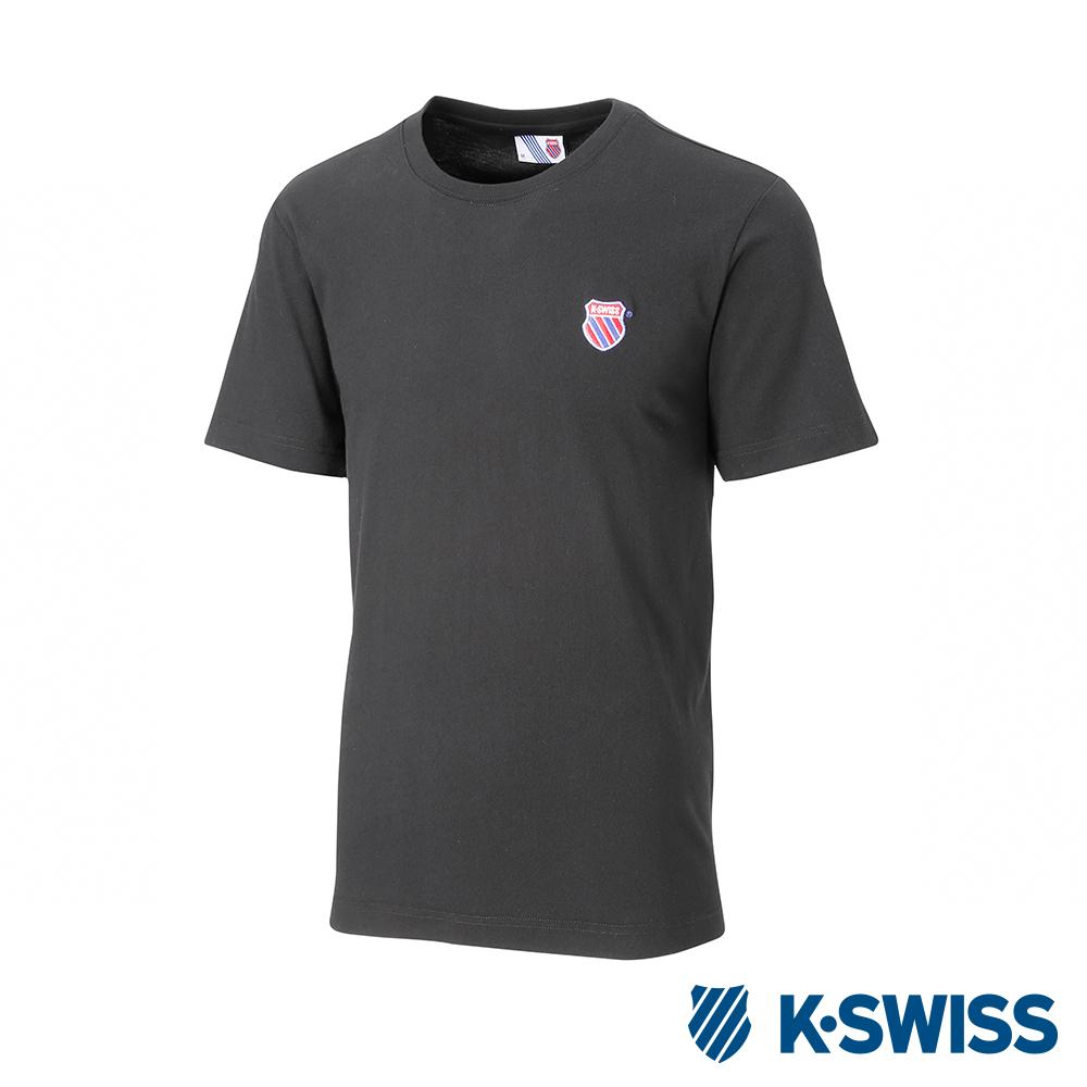 K-SWISS Wintage Shield Logo Tee印花短袖T恤-男-黑