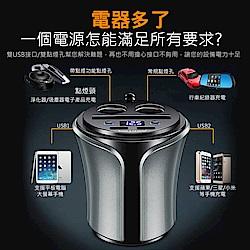 杯型電壓顯示雙點煙插座雙USB快速車充